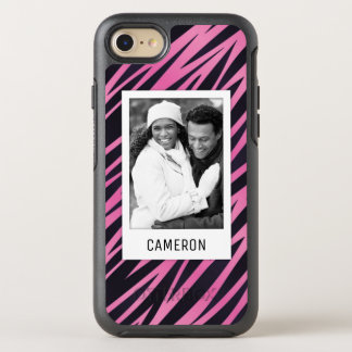 Photo & Name Pink Zebra Stripe Background OtterBox Symmetry iPhone 8/7 Case