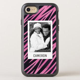 Photo & Name Pink Zebra Stripe Background OtterBox Symmetry iPhone 8/7 Case