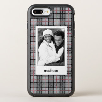 Photo & Name Pixel Plaid in Grey & Red OtterBox Symmetry iPhone 8 Plus/7 Plus Case