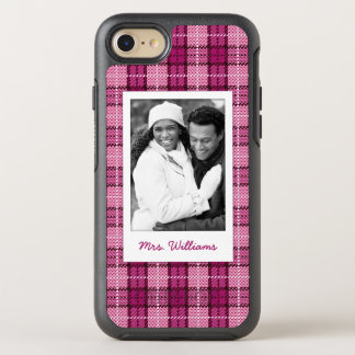 Photo & Name Pixel Plaid_Magenta-Black OtterBox Symmetry iPhone 8/7 Case