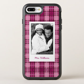 Photo & Name Pixel Plaid_Magenta-Black OtterBox Symmetry iPhone 8 Plus/7 Plus Case