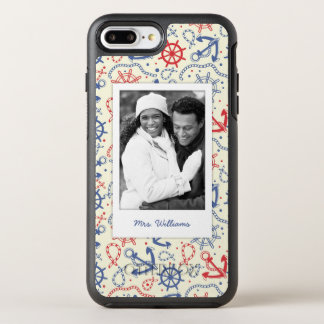 Photo & Name Red and Navy with Anchor OtterBox Symmetry iPhone 8 Plus/7 Plus Case