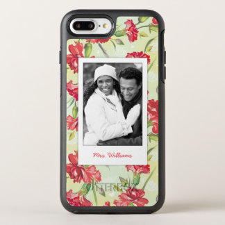 Photo & Name Red Carnations & butterflies OtterBox Symmetry iPhone 8 Plus/7 Plus Case