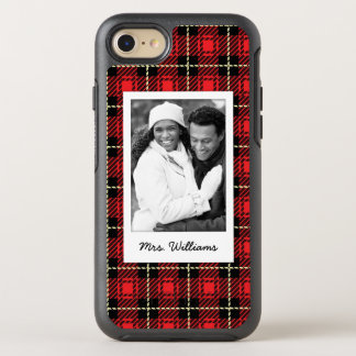 Photo & Name Red Plaid Background OtterBox Symmetry iPhone 8/7 Case