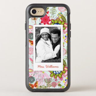 Photo & Name Retro Floral Pattern 2 OtterBox Symmetry iPhone 8/7 Case