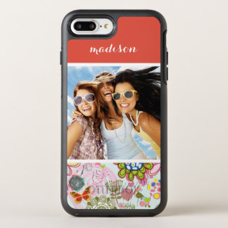 Photo & Name Retro Floral Pattern 2 OtterBox Symmetry iPhone 8 Plus/7 Plus Case