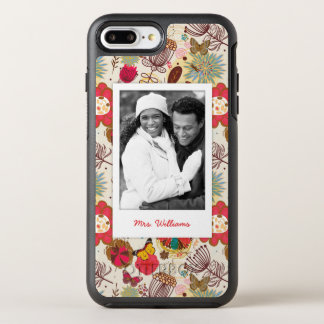 Photo & Name Retro Floral Pattern 4 OtterBox Symmetry iPhone 8 Plus/7 Plus Case