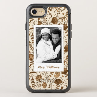Photo & Name Retro floral pattern OtterBox Symmetry iPhone 8/7 Case