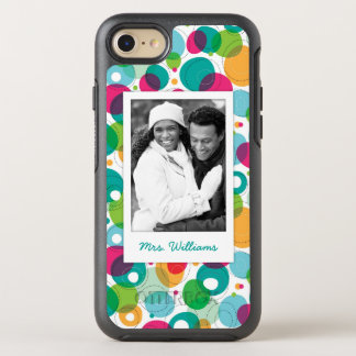 Photo & Name Round bubbles kids pattern OtterBox Symmetry iPhone 8/7 Case