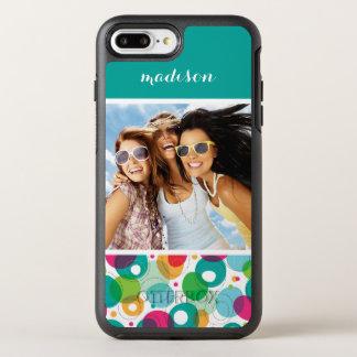 Photo & Name Round bubbles kids pattern OtterBox Symmetry iPhone 8 Plus/7 Plus Case