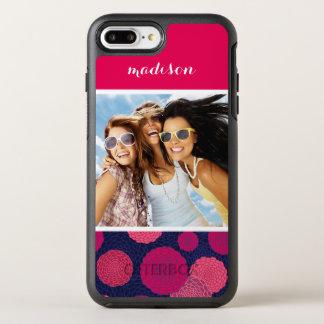 Photo & Name Round flowers pattern OtterBox Symmetry iPhone 8 Plus/7 Plus Case