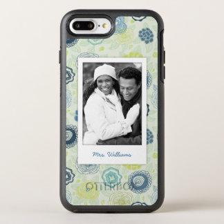 Photo & Name Stylish Floral Pattern OtterBox Symmetry iPhone 7 Plus Case