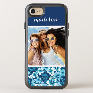Photo & Name Surf Floral Hibiscus Pattern OtterBox Symmetry iPhone 8/7 Case