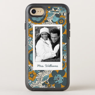 Photo & Name Vintage floral pattern OtterBox Symmetry iPhone 8/7 Case