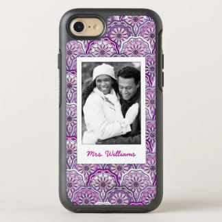 Photo & Name Vintage Pattern OtterBox Symmetry iPhone 8/7 Case