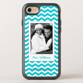 Photo & Name White and Aqua Zig Zag Pattern OtterBox Symmetry iPhone 8/7 Case