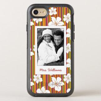 Photo & Name White flowers on stripes OtterBox Symmetry iPhone 8/7 Case