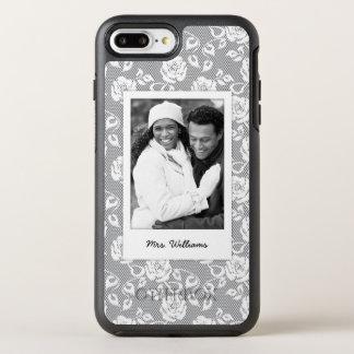 Photo & Name White flowers on stripes OtterBox Symmetry iPhone 8 Plus/7 Plus Case