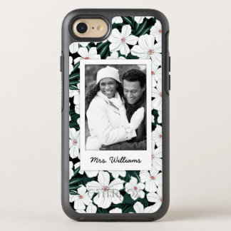 Photo & Name White Tropical Flowers Pattern OtterBox Symmetry iPhone 8/7 Case