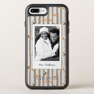 Photo & Name with autumn trees and birds OtterBox Symmetry iPhone 7 Plus Case
