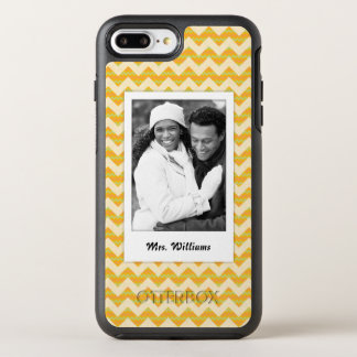 Photo & Name Yellow chevron pattern OtterBox Symmetry iPhone 8 Plus/7 Plus Case
