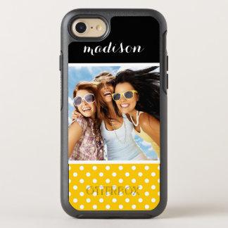Photo & Name Yellow with white polka dots OtterBox Symmetry iPhone 8/7 Case