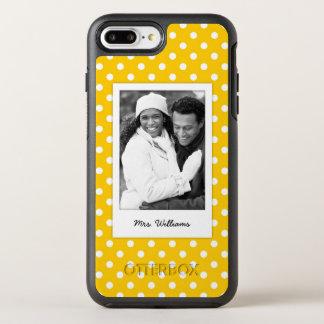 Photo & Name Yellow with white polka dots OtterBox Symmetry iPhone 8 Plus/7 Plus Case