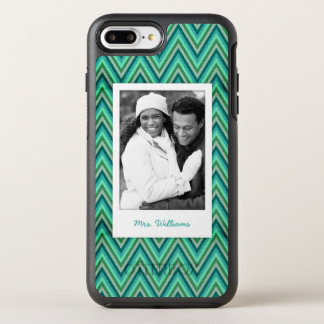 Photo & Name Zig Zag Striped Background OtterBox Symmetry iPhone 8 Plus/7 Plus Case