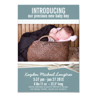 Photo New Baby Boy Birth Announcement