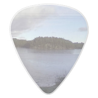 Photo of a Small Lake White Delrin Guitar Pick