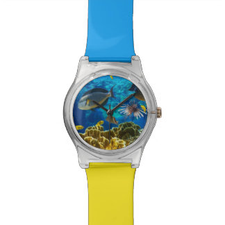 Photo of a tropical Fish on a coral reef Wrist Watch