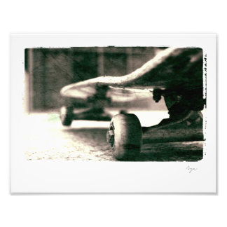 Photo of black and white skateboard
