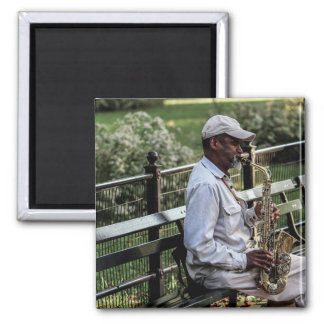 Photo of New York City Street Sax Player 2 Inch Square Magnet