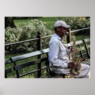 Photo of New York City Street Sax Player Poster