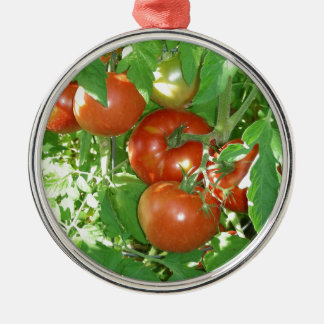 Photo of ripe red tomatoes on the vine christmas ornament