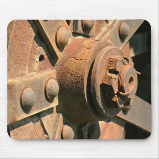 Photo of rusty old tractor wheel hub and axle mouse mat