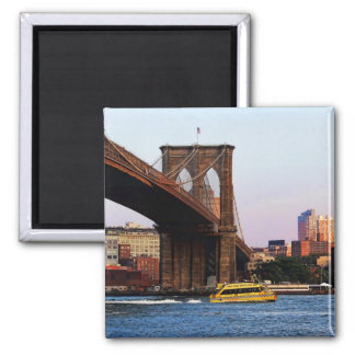 Photo of the Brooklyn Bridge in NYC Square Magnet