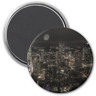 Photo of the New York City Night Skyline 3 Inch Round Magnet