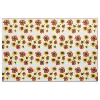 Photo of Yellow Orange Sunflowers Floral Fabric