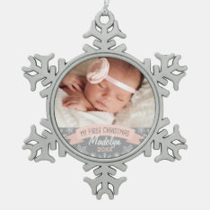 Photo Ornament | Baby Girl First Christmas at Zazzle
