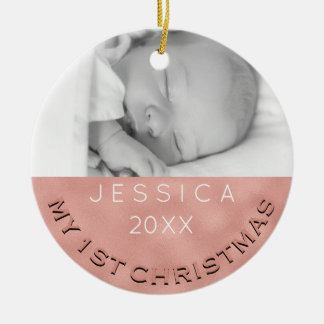 Photo Ornament Baby Girl's 1st Christmas Rose Gold