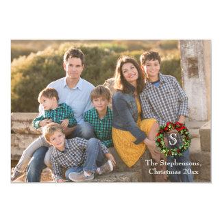 Photo Overlay Monogram Wreath Christmas Photo Card 13 Cm X 18 Cm Invitation Card