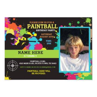 Photo Paintball Birthday Party Invitation