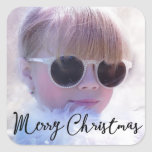 Photo Personalised Christmas Square Stickers