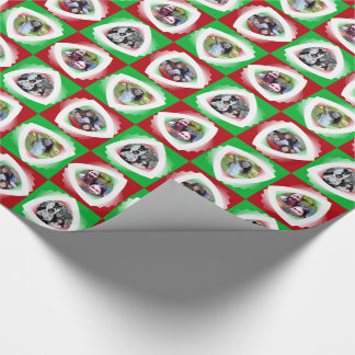Photo personalised red and green collage wrapping paper