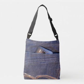 Photo Phone in blue demin jeans back pocket print Crossbody Bag