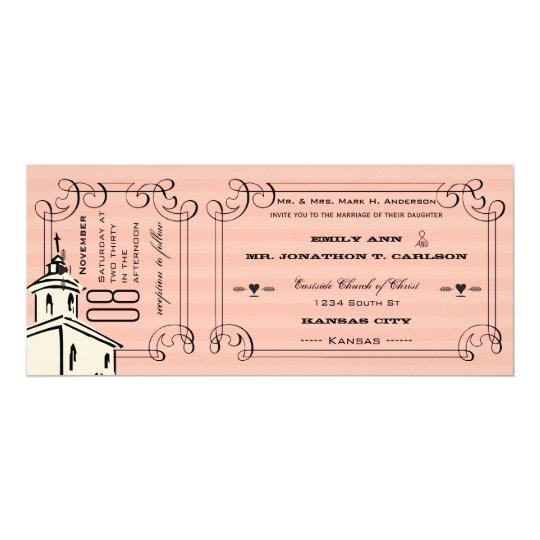 Photo Pink Romantic Chapel Ticket Wedding Card