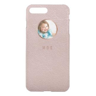 Photo Pink Rose Gold Printed Leather Monogram iPhone 7 Plus Case