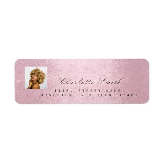 Photo Pink Rose RSVP Adress Name Metallic Return