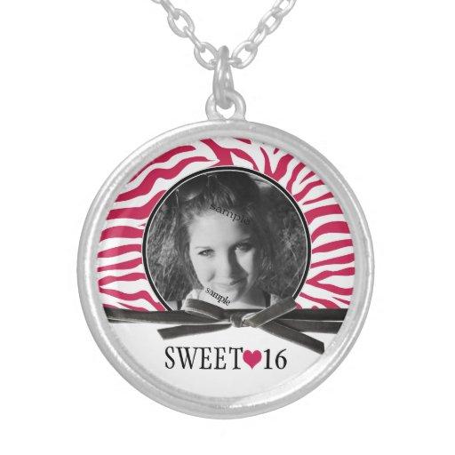 Photo Pink Zebra Sweet 16 Keepsake Custom Jewelry